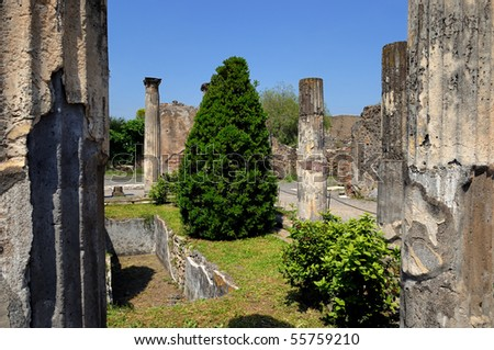 Internal square of house in Pompeii with garden - stock photo