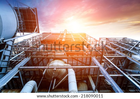 Internal structure of large thermal power plant - stock photo
