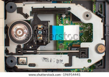 Internal structure of the DVD drive unit. - stock photo