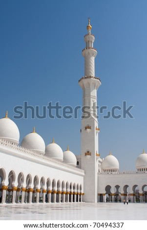 Internal view of shiekh zayad mosque. Sheikh Zayed mosque in Abu Dhabi is the third largest mosque in the world. - stock photo
