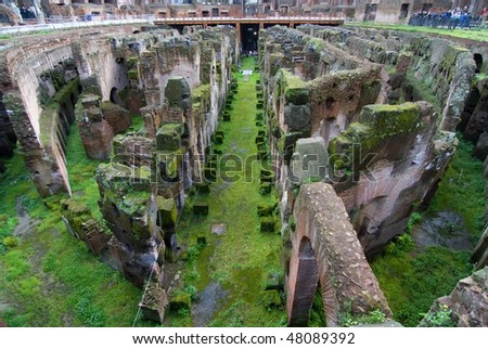 Internal wide angle view of the Colosseum in Rome - stock photo