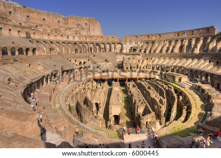 Internal wide angle view of the colosseum in Rome. hdr image from 1 raw file. - stock photo