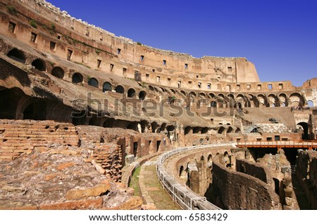 Internal wide angle view of the colosseum in Rome, view on rostrum - stock photo