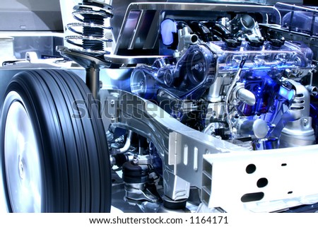 Internal working of a hybrid car - stock photo