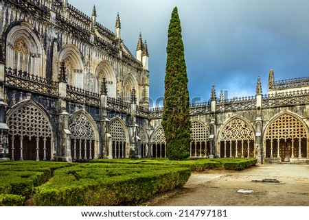 Internal yard of Batalha Dominican medieval monastery, Portugal - great masterpieces of Gothic art. UNESCO World Heritage - stock photo