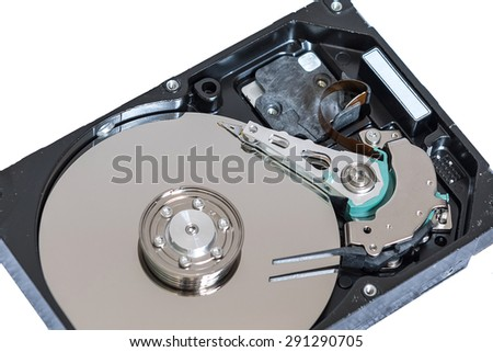 Internals of a harddisk HDD  - stock photo