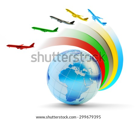 International airlines, air travel and global transportation concept, colorful airplanes flying around earth globe isolated on white background. Source of Globe texture: http://visibleearth.nasa.gov - stock photo
