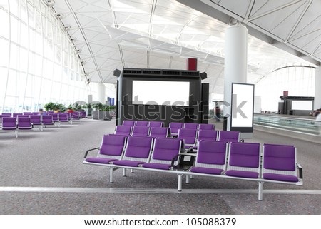 International airport building and boarding gate indoor shot in asia - stock photo
