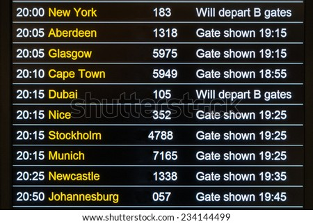 International Airport Departures Board - stock photo