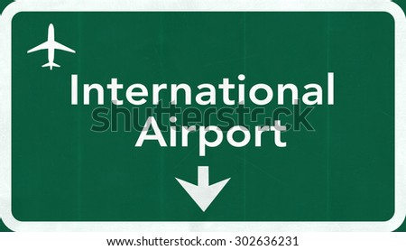International Airport Highway Sign 2D Illustration - stock photo