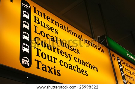 International Airport Sign in Europe - stock photo