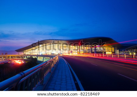 International Airport Terminal T2 night. - stock photo
