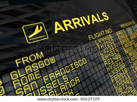International arrivals board panel with environment reflection - stock photo