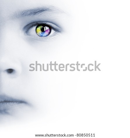 International background with beauty child's face, colorful eye and map - stock photo