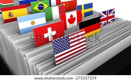 International business and global market concept with a close-up of a customer file directory with document and some international flags on tags. - stock photo