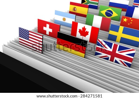 International business and global market concept with a close-up of a customer file directory with document file and international flags on tags. - stock photo