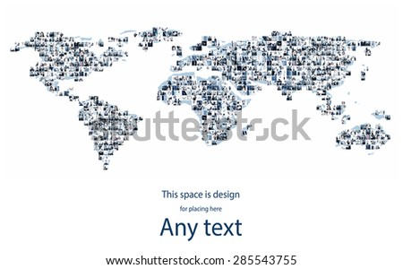International business, businesspeople, worldwide communication and stock exchange  concept. Giant collage. Blank space for any text.