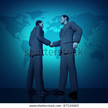 International business deal with a handshake between two businessmen with a blue world map in the background representing partnerships connections and contract agreements. - stock photo