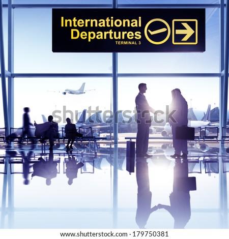 International Business Hand Shake at Airport - stock photo