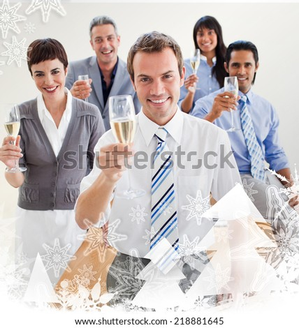 International business people toasting with Champagne against christmas frame