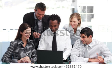 International business people working in an office - stock photo