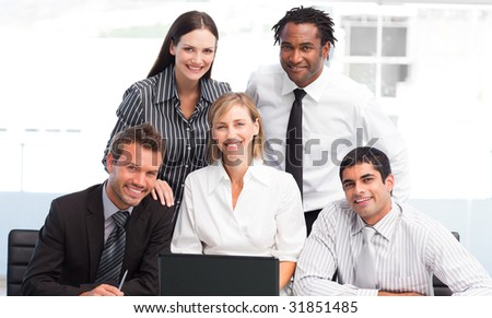 International business team together in an office