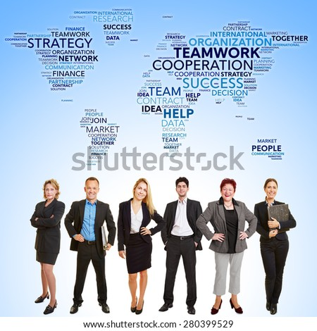International business teamwork cooperation with many lawyers stand in front of world map - stock photo