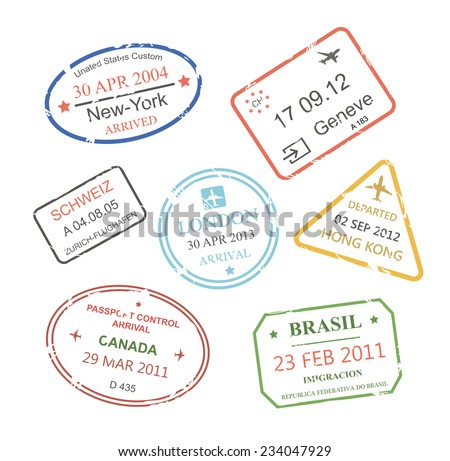 International business travel visa stamps set   illustration - stock photo