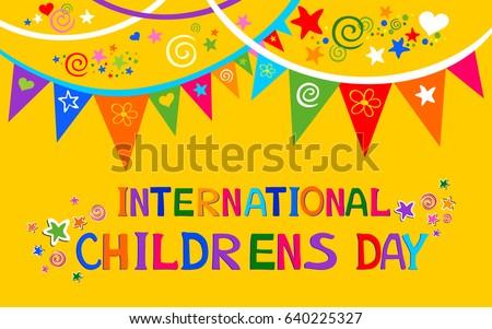 International Childrens Day Happy Children Day Stock ...