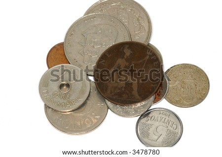 international coins - stock photo