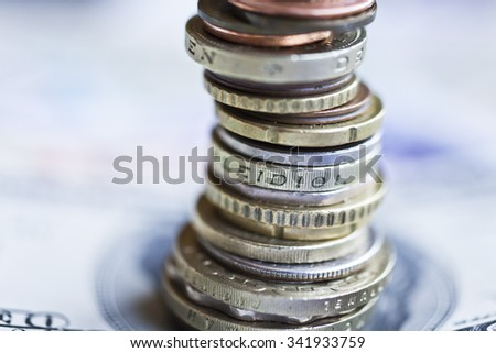 International coins. Money from the United States, Europe, Britain and Hong Kong