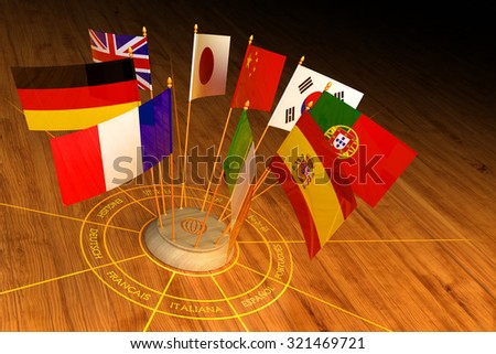 International communication, diplomacy and foreign language translation concept, circle from national flags of the world countries on wooden background - stock photo