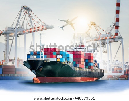 International Container Cargo ship with ports crane bridge in harbor and Cargo plane for logistic import export background and transport industry. - stock photo