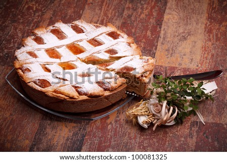 International Cuisine - Desserts - Neapolitan Pastiera . Pastiera is a wheat and ricotta pie that is also known as Pizza Gran. - stock photo