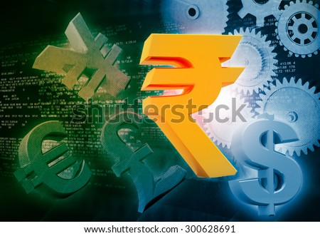 International currencies and gears , industrial production make money  - stock photo