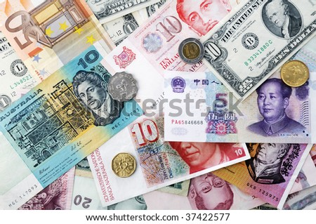 International currencies background. - stock photo