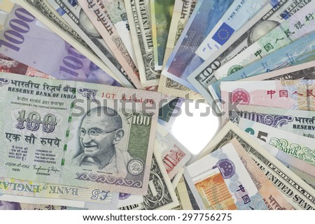 International currencies isolated - stock photo