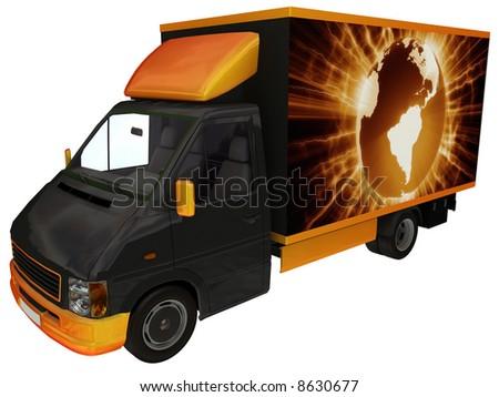 International delivery van. - stock photo
