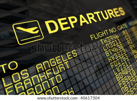 International departures board panel with environment reflection - stock photo
