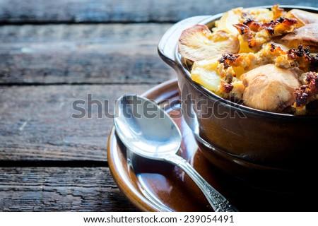 International dish mousaka with baked potatoes,selective focus  - stock photo