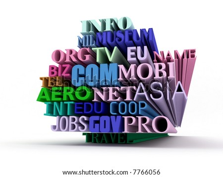 international domains text in 3d isolated over white - stock photo