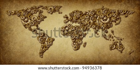 International economy old grunge map of world business connections on a global networking scale with gears and cogs in the shape of countries as america asia europe australia and africa. - stock photo