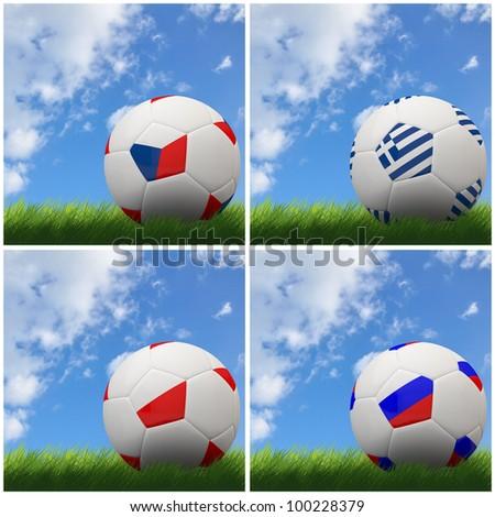 International flag on 3d football for Euro 2012 Group A - stock photo