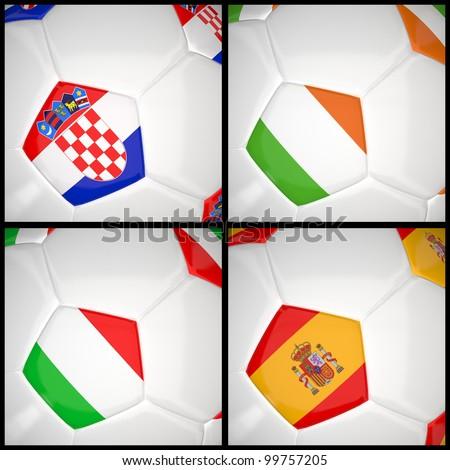 International flag on 3d football for Euro 2012 Group C - stock photo