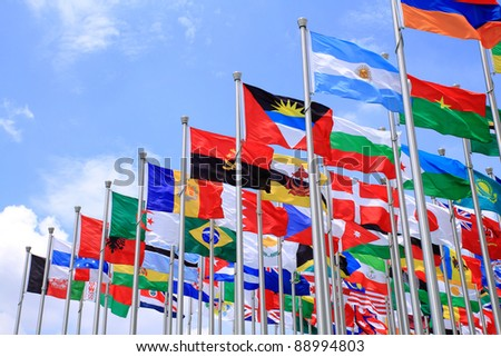 International Flags blowing in the wind