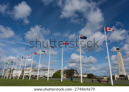 International Flags in a Park in Plymouth, England. - stock photo