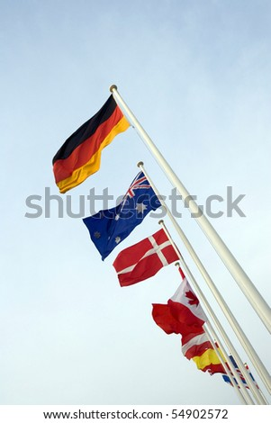 international flags on THE POLES - stock photo