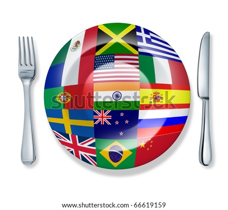 international food fork plate knife isolated world flag cuisine