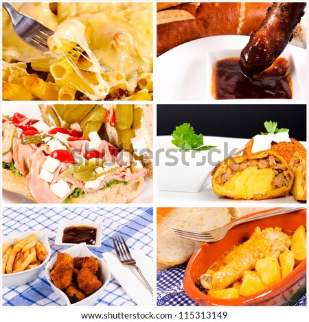 International food in collage - stock photo