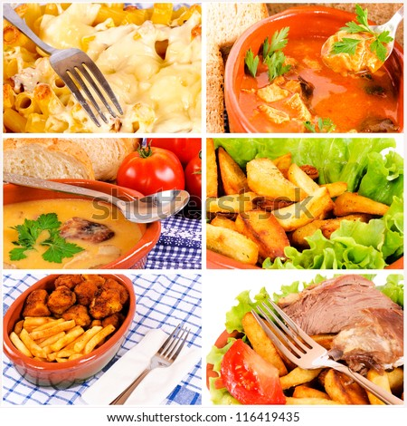 International food in the collage - stock photo